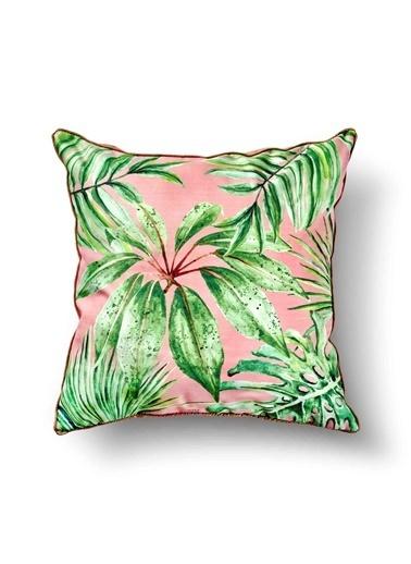 The Mia Tropik Yastık - Leaf Pembe 50 x 50cm Renkli